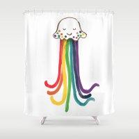 jellyfish Shower Curtains featuring Rainbow Jellyfish by Picomodi
