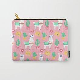 Cute Alpaca & Cactus Pattern Carry-All Pouch