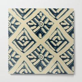 Batik Mudcloth Navy, Tan Metal Print
