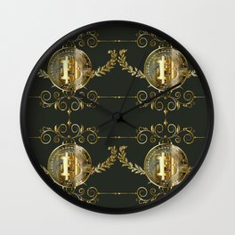 Bitcoin coin golden pattern Wall Clock