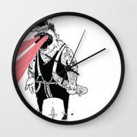 the dude Wall Clocks featuring dude by Dávid Kurňavka