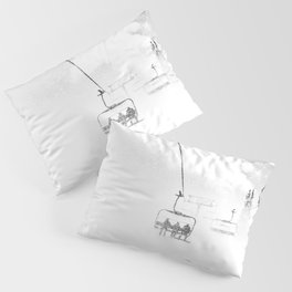 Snow Blasted // Black and White Ride on the Skilift in Blizzard Wind Pillow Sham