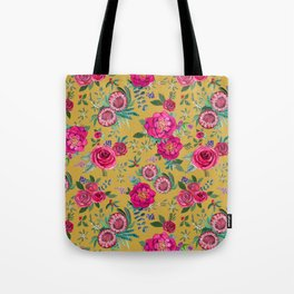 Mustard yellow floral autumn / fall flowers and berries Tote Bag