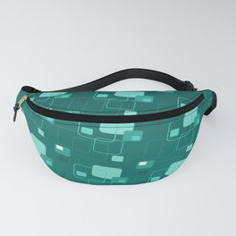 Space age retro teal squares decorator pattern Fanny Pack