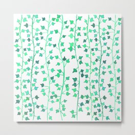 Watercolor Vines Pattern - Mint Green Metal Print