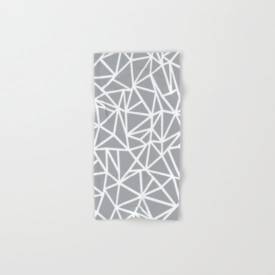 Abstract Outline Thick White on Grey Hand & Bath Towel