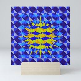 Blue Shark Sun Mini Art Print