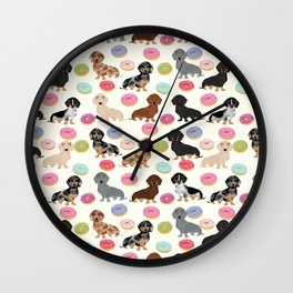 Dachshund weener dog donuts cutest doxie gifts for small dog owners Wall Clock