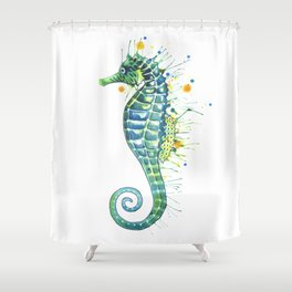 Seahorse: Green Shower Curtain