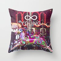 forever young Throw Pillows featuring Forever Young by farsidian