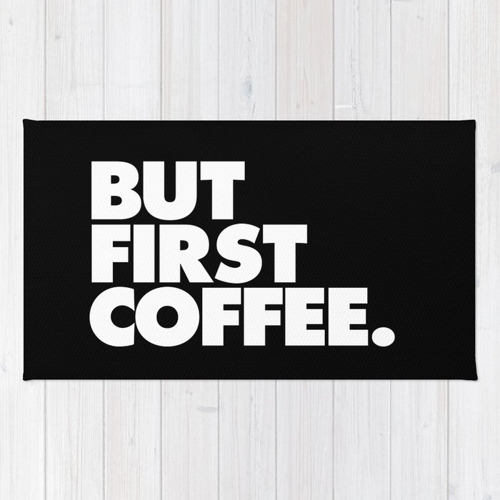 But first coffee typography poster black and white office decor wake up espresso bedroom posters rug