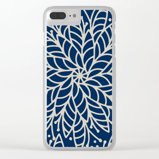 Modern navy blue ivory hand painted floral mandala Clear iPhone Case