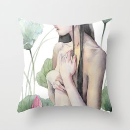 Swamp Fairy in Watercolor, Pink Blossom, Lotus Plant Throw Pillow