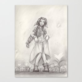 Aerith Greyscale Canvas Print