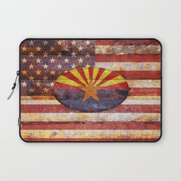 Arizona and USA flag on old wooden planks. Laptop Sleeve