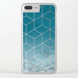 Gold Geometric Cubes Teal Marble Deco Design Clear iPhone Case
