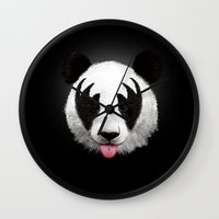 kiss Wall Clocks featuring Kiss of a panda by Robert Farkas
