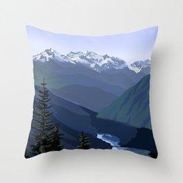North Cascades National Park, Vintage Throw Pillow