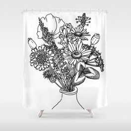 Wildflowers in a Vase Shower Curtain