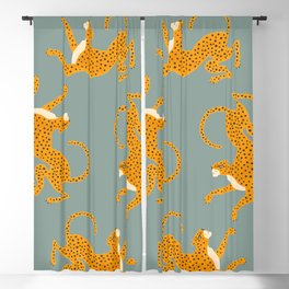 Leopard Race - blue Blackout Curtain