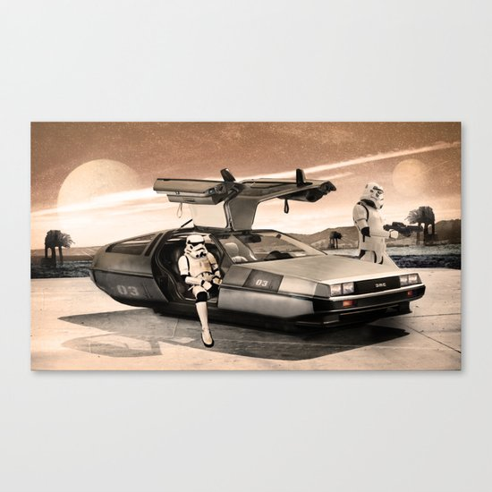 2 Stormtrooopers in a Hover DeLorean  Canvas Print