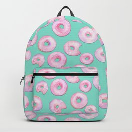 Pink Donuts | Strawberry Watercolor Doughnut Pattern on Teal Backpack