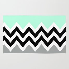 DOUBLE COLORBLOCK CHEVRON {MINT/BLACK/GRAY} Rug