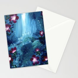 Pink Flowers by a Waterfall Stationery Cards