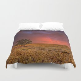 Fire Within - Red Sky and Rainbow Over Lone Tree on Great Plains Duvet Cover