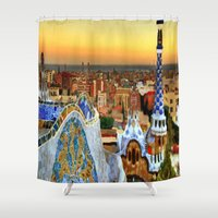 barcelona Shower Curtains featuring Barcelona by Darla Designs