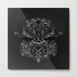 Mjolnir - The hammer of Thor and Ravens Metal Print