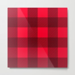 DigiPlaid Red Metal Print
