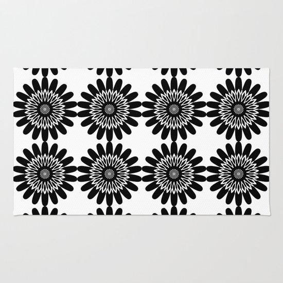 Black And White Toile Rug