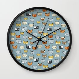 Cat Face Doodle Pattern Wall Clock