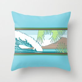 Ala Moana Diamond Head Hawaiian Surf Sign Throw Pillow