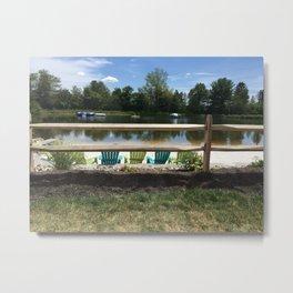 Sunny Lake Beach Metal Print