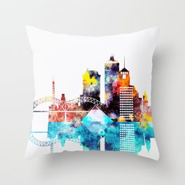 Colorful Watercolor Memphis Skyline Throw Pillow