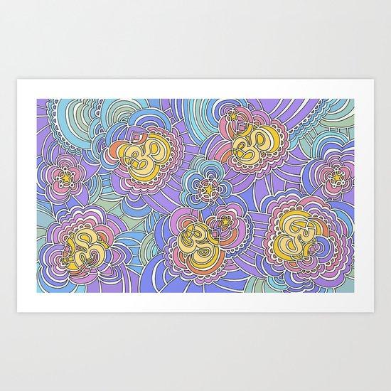 Drawing Meditation: Namaste (rainbow version) Art Print