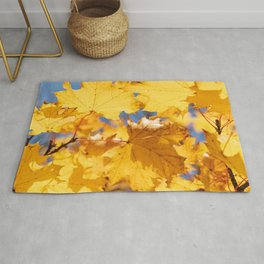 leaves, yellow, dry, autumn, maple Rug