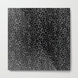 Gray and Black Exotic Leopard Animal Pattern Metal Print