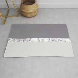 Mauve Gray Floral stripe pattern Rug