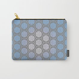 Hexagonal Dreams - Periwinkle/Turquoise gradient Carry-All Pouch