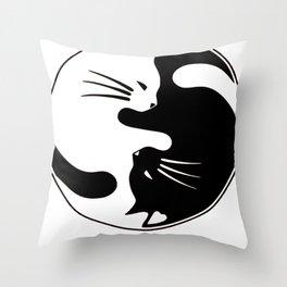 Cat Yin and Yang Throw Pillow