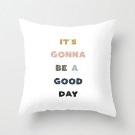Good Day - Retro Rainbow Throw Pillow
