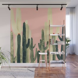 pink growing cactus Wall Mural
