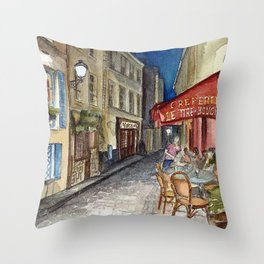 Postcards from Paris - Montmartre by Night: Le Tire-Bouchon Creperie Throw Pillow