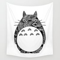 ghibli Wall Tapestries featuring Ghibli Zentangle by Riaora Creations