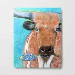 Longhorn with Bluebonnet Metal Print