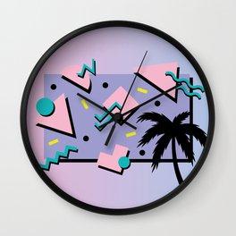 Memphis Pattern 25 - Miami Vice / 80s Retro / Palm Tree Wall Clock
