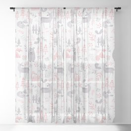 Woodland Forest Animals Sheer Curtain